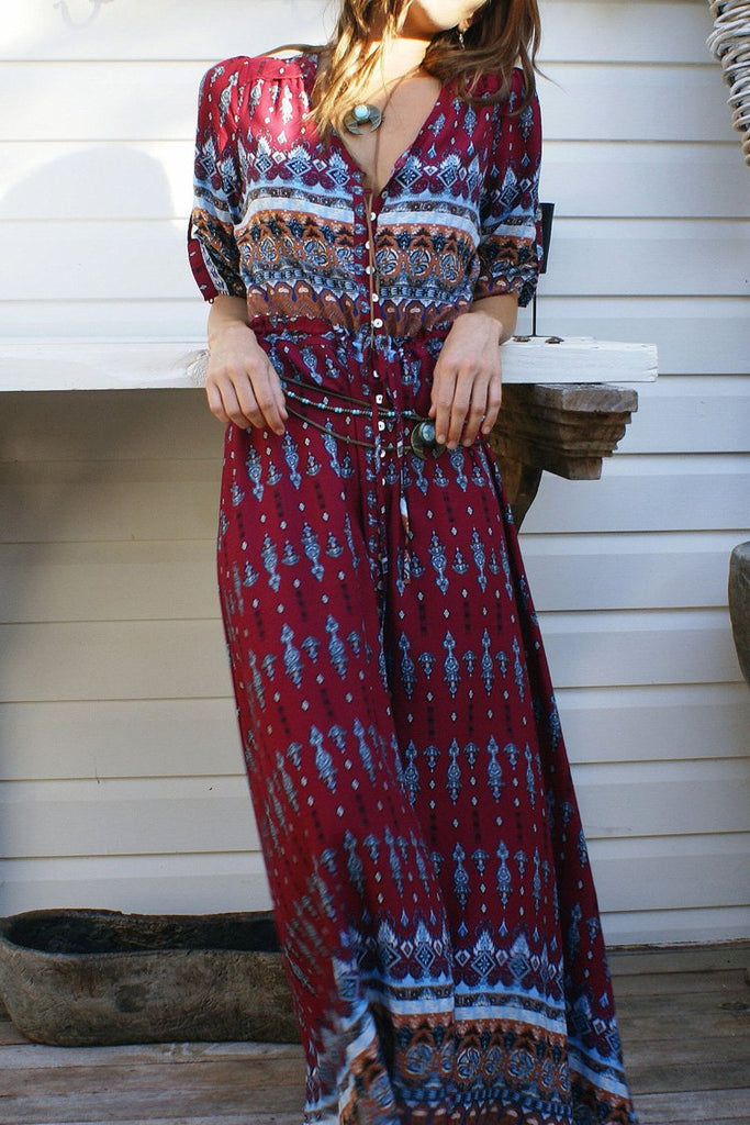Burgundy Boho Style Printed Maxi Dress BW097