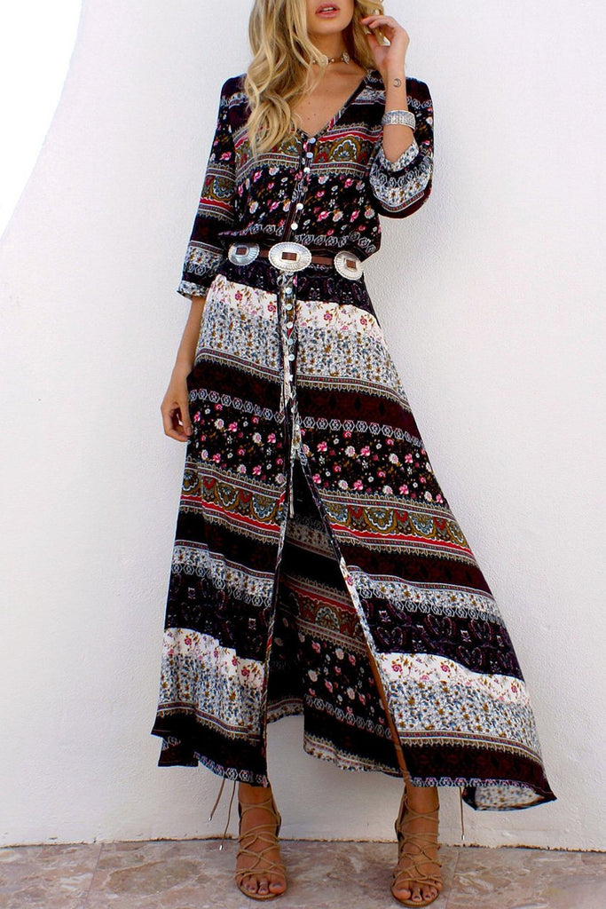 Coffee Boho Style Printed Maxi Dress BW092