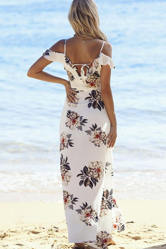 White Floral Cross Wrap Beach Maxi Dress BW086
