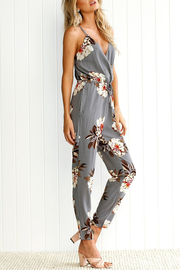 Gray Spaghetti Straps Floral Jumpsuit BW109