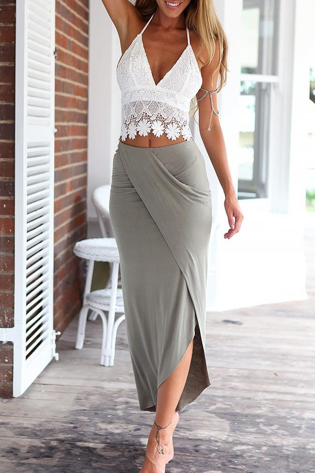 White Lace Halter Crop Top with Gray Maxi Skirt BW067