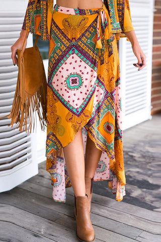Yellow Boho Asymmetrical Hem Maxi Skirt BW110