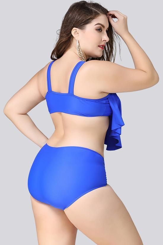 Blue Asymmetrical Ruffle Plus Size Bikini Swimsuit SK0221