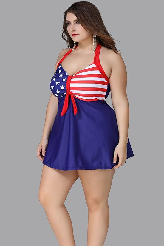 Blue Flag Print Knotted Plus Size Babydoll Swimdress SK0297
