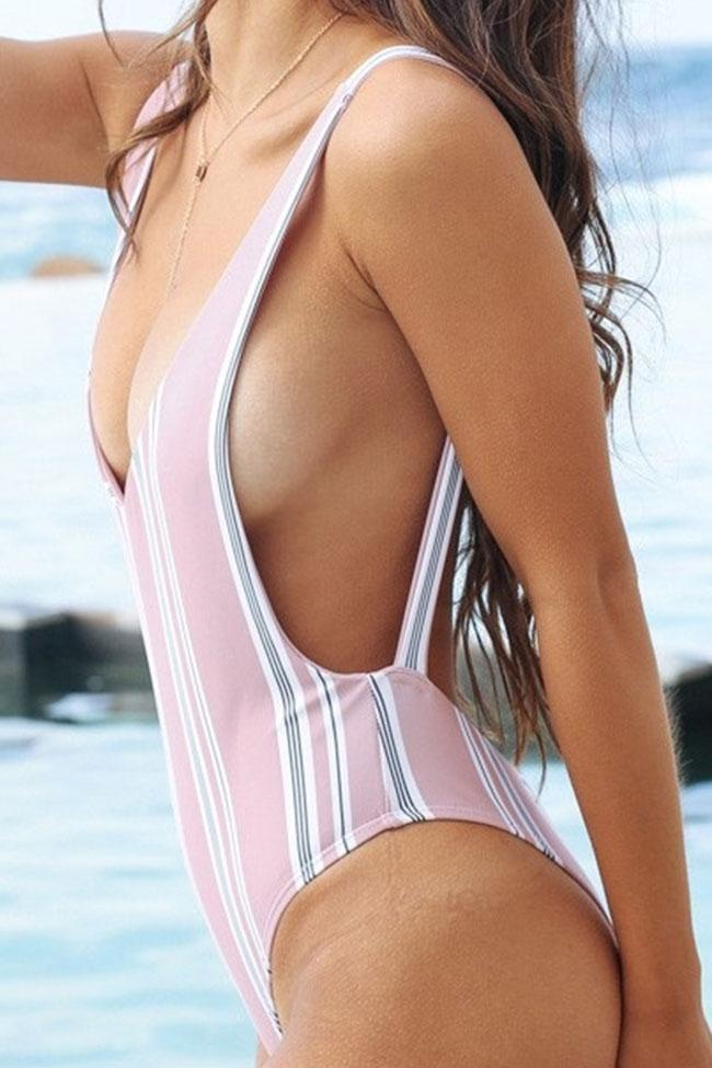 One Piece Pink Stripe Swimsuit SO267