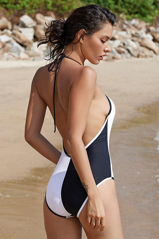 One Piece Sexy Monochrome Halter Swimsuit SO461