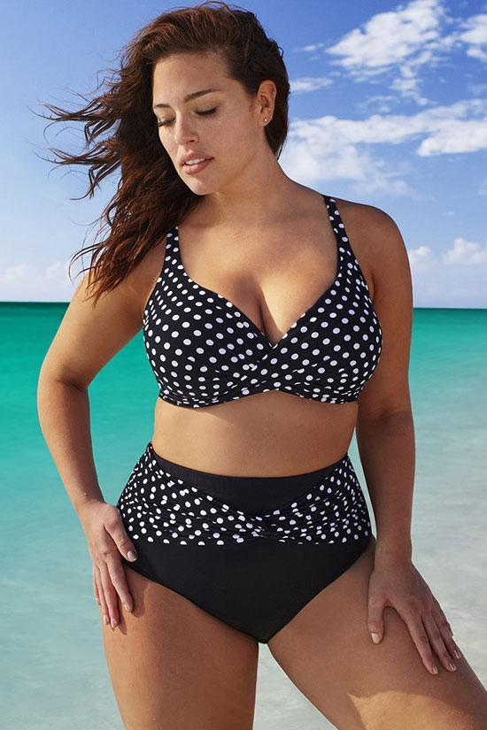 Active Polka Dot High Waisted Plus Size Bikini Swimsuit SK0163