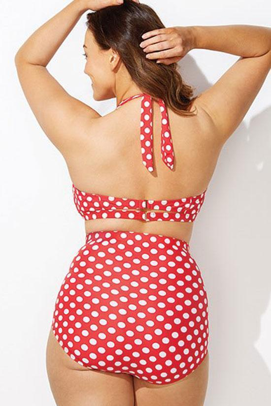 Red Polka Dots High Waisted Halter Plus Size Two Piece Bikini Swimsuit SK0189