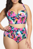 Tropical Plus Size Colorful Push Up Two Piece Bikini Swimsuit SK0158