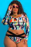 Two Piece Set Plus Size Ethnic Geometric Printed Bikini Swimsuit SK0117