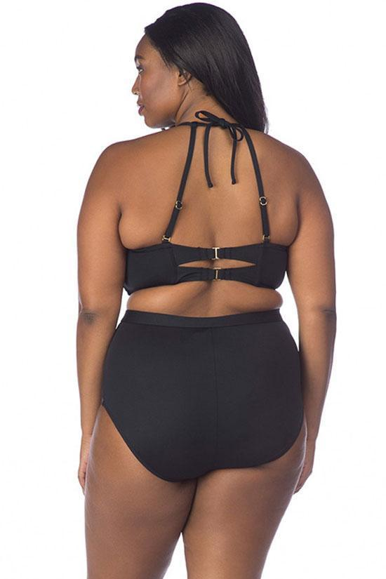 Black Cool High Neck High Waisted Plus Size Bikini Swimsuit SK0240