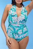 Hawaii Palm Leaf Halter Plus Size One Piece Swimsuit SK0200