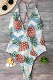 One Piece Light Blue Pineapple Plunged High Leg Swimsuit SO238