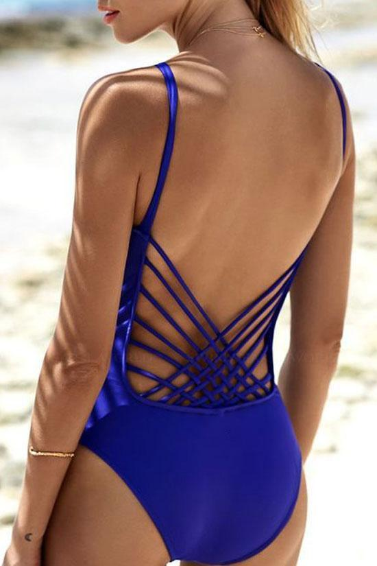 One Piece Sexy Solid Color Macrame Swimsuit SO301