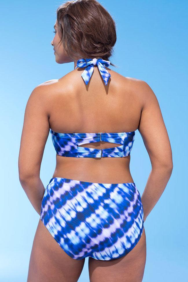 Refreshing Printed Bowknot Halter Plus Size Bikini Swimsuit SK0214