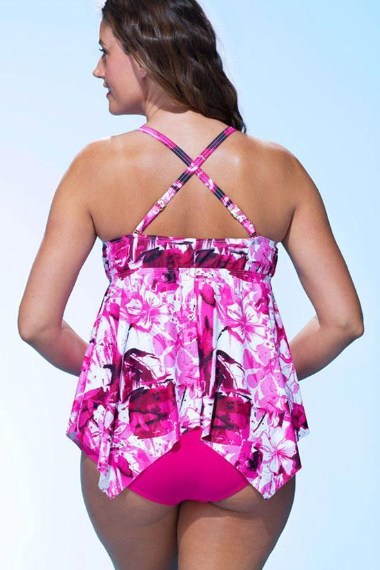 Pink Floral Printed Layered Ruffle Plus Size Tankini Swimsuit SK0253