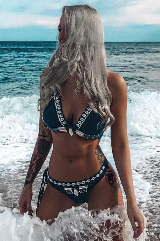 Shell Crochet Triangle Swimsuit Two Piece Bikini Set SB48