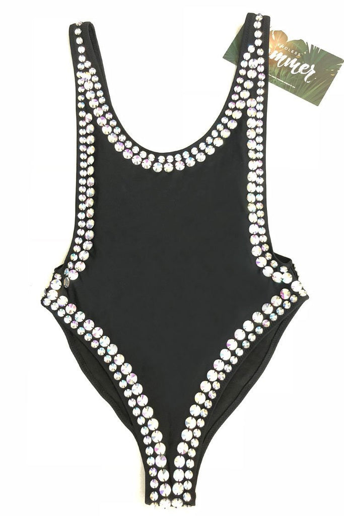 Rhinestone High Cut Sexy Low Back One Piece Luxury Swimsuit SK0304