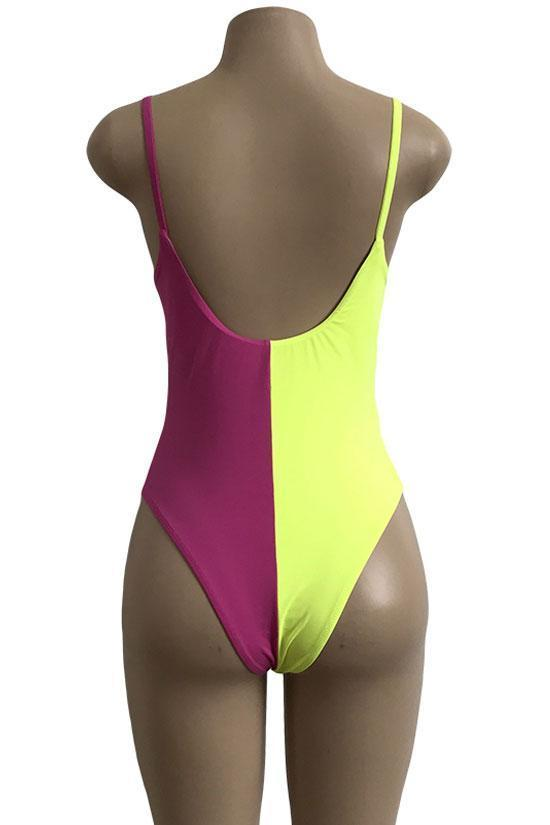 One Piece Ice Cream Color Block High Leg Swimsuit SO172