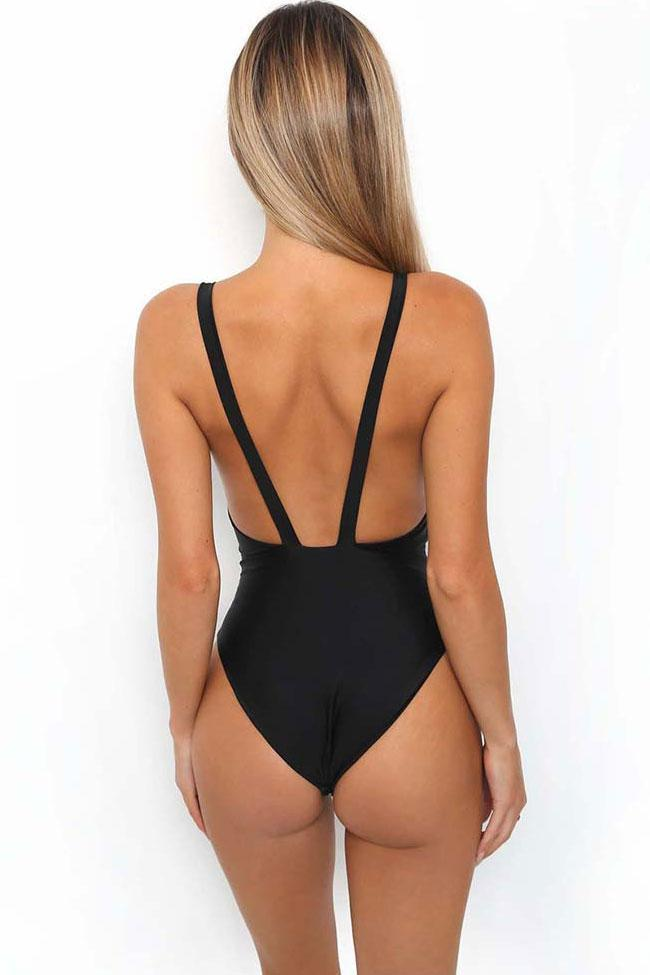 One Piece High Style High Leg Deep V Neck Swimsuit SO015