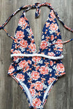 One Piece Boho High Leg Floral Printed Braided Deep V Neck Swimsuit SO345