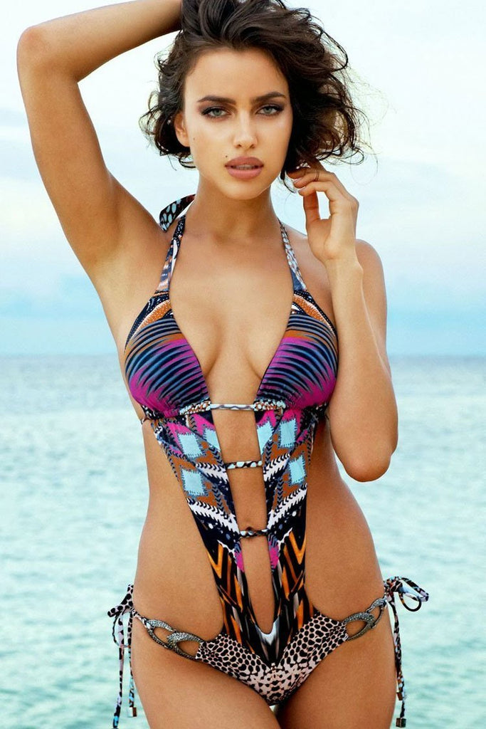 One Piece Leopard Printed Striped Deep V Neck Monokini Swimsuit SO259