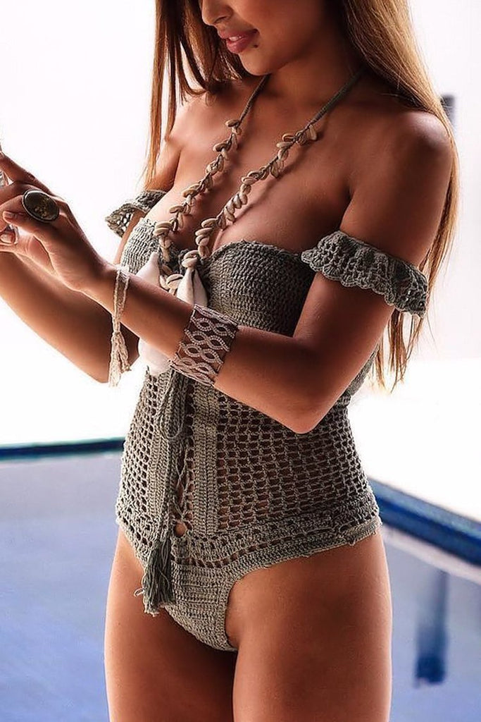 One Piece Holiday Lace Up Crochet Bandeau Swimsuit SO145