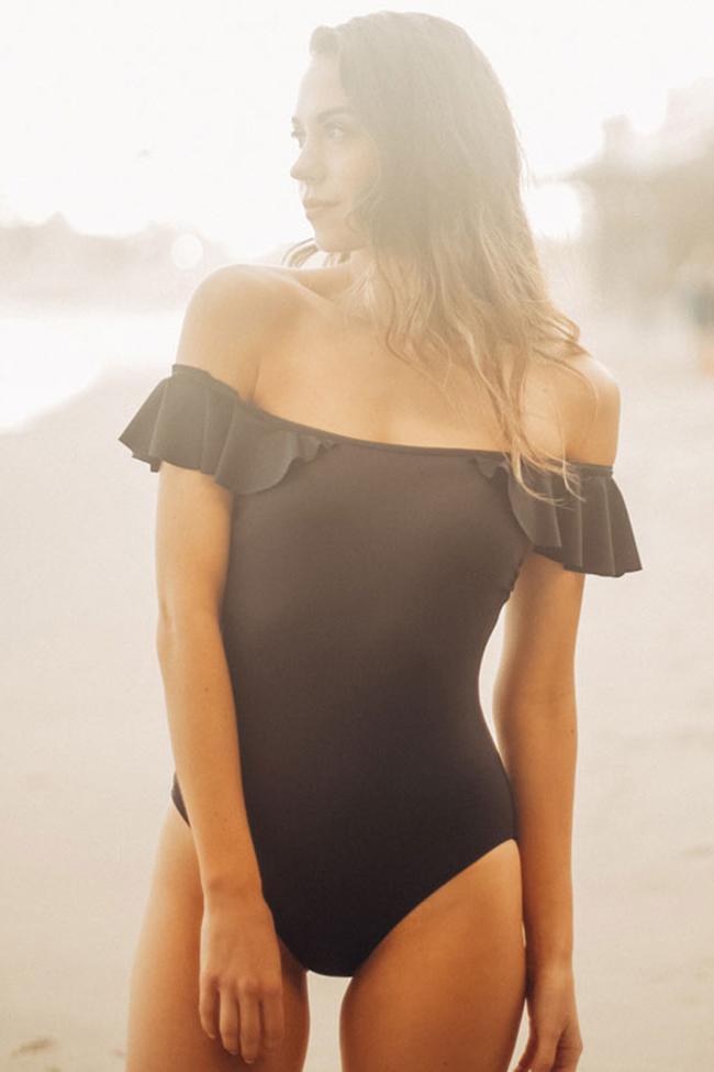 One Piece Pretty Ruffle Sleeve Off Shoulder Swimsuit SO261