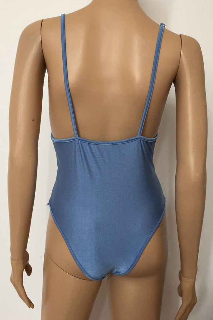 One Piece Solid V Neck High Leg Swimsuit SO043