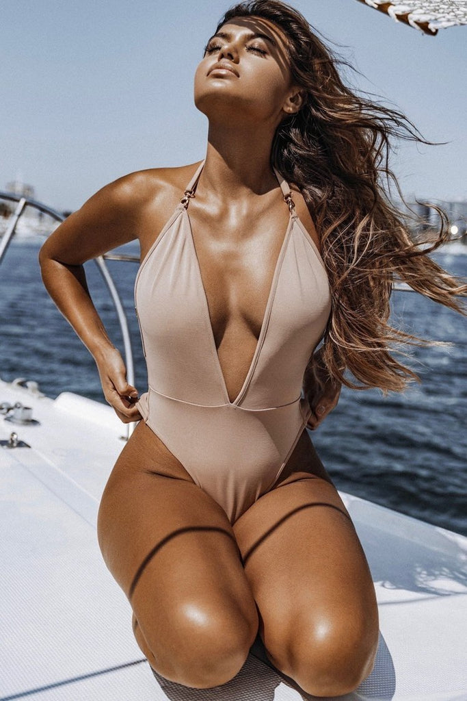 One Piece Deep V Neck High Leg Halter Swimsuit  SO023
