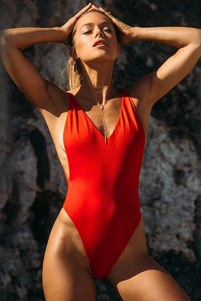 One Piece Solid V Neck High Leg Low Back Swimsuit  SO010
