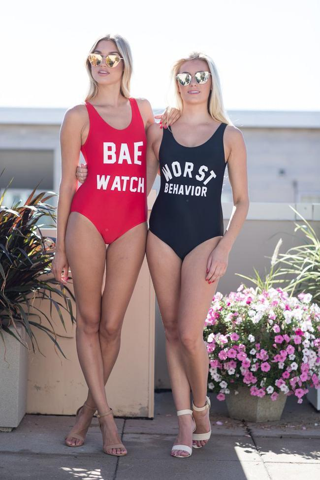 One Piece Black Red Slogan Swimsuit SO109