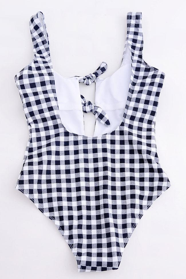 One Piece Retro Bow Trim Gingham Swimsuit SO068