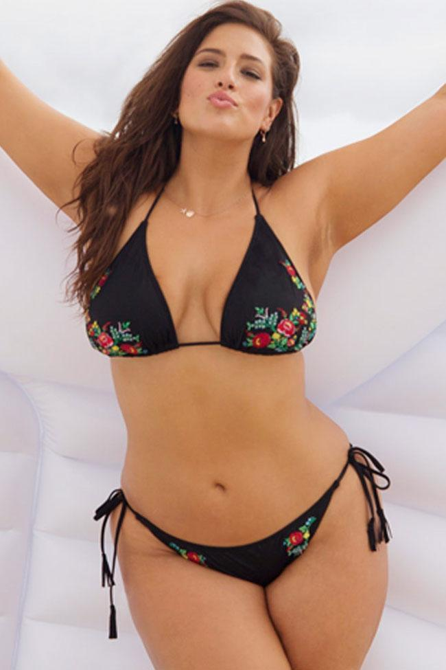Exquisite Floral Embroidery Triangle Plus Size Bikini Swimsuit SK0137