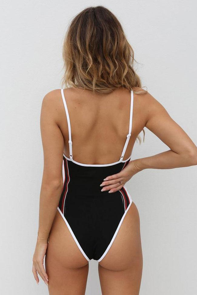 One Piece Contrast Color Striped Low Back High Leg Swimsuit SO186