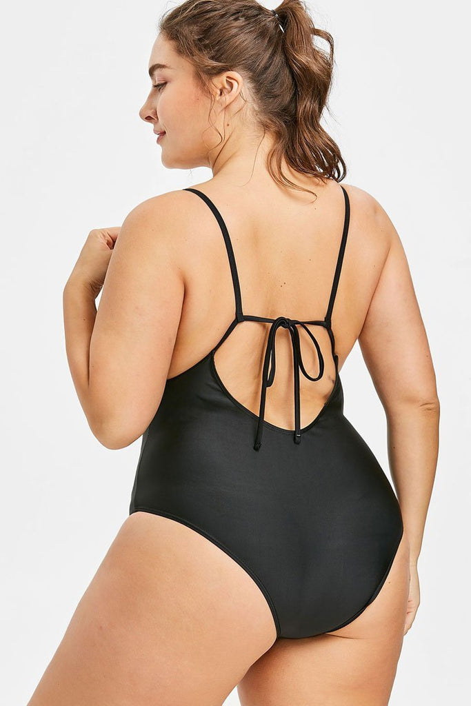 Black Floral Embroidery Low Back Plus Size One Piece Swimsuit SK0252