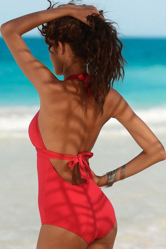 One Piece Solid Low Back Fringe V Neck Halter Swimsuit SO199