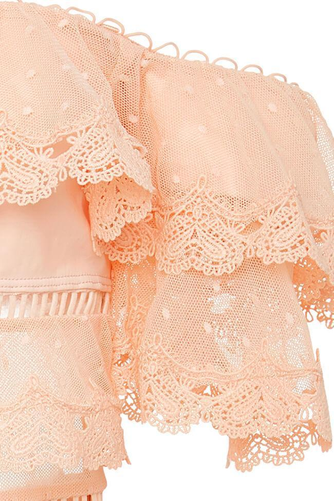 Coral Layered Lace Off Shoulder One Piece Luxury Swimsuit SK0301