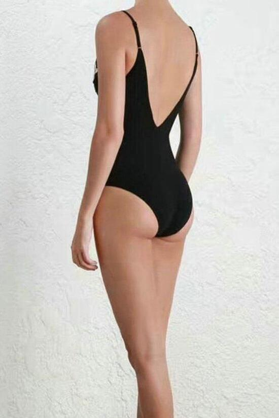 Black Symmetrical Embroidery Low Back One Piece Luxury Swimsuit SK0311