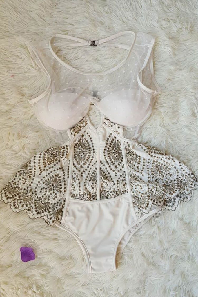 Sheer Dot Mesh Corset Embroidered Peplum One Piece Luxury Swimsuit SK0308