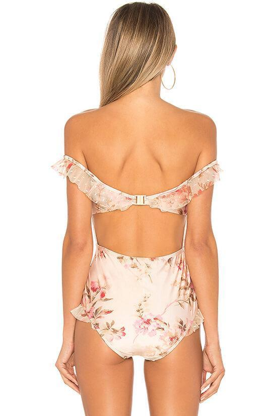 One Piece Luxury Floral Mesh Layered Ruffle Off Shoulder Bodice Swimsuit SO386