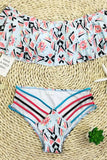 Strappy High Waist Ruffle Off Shoulder Beach Floral Bikini Swimsuit SK0319