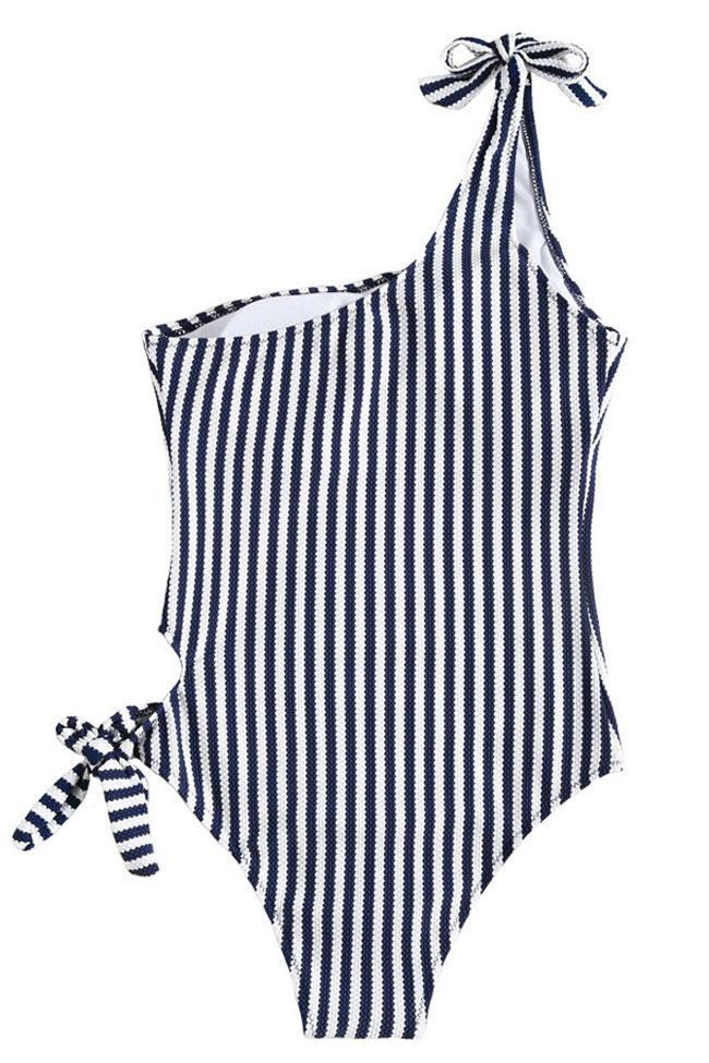 One Piece Vertical Striped Knotted One Shoulder Swimsuit SO093