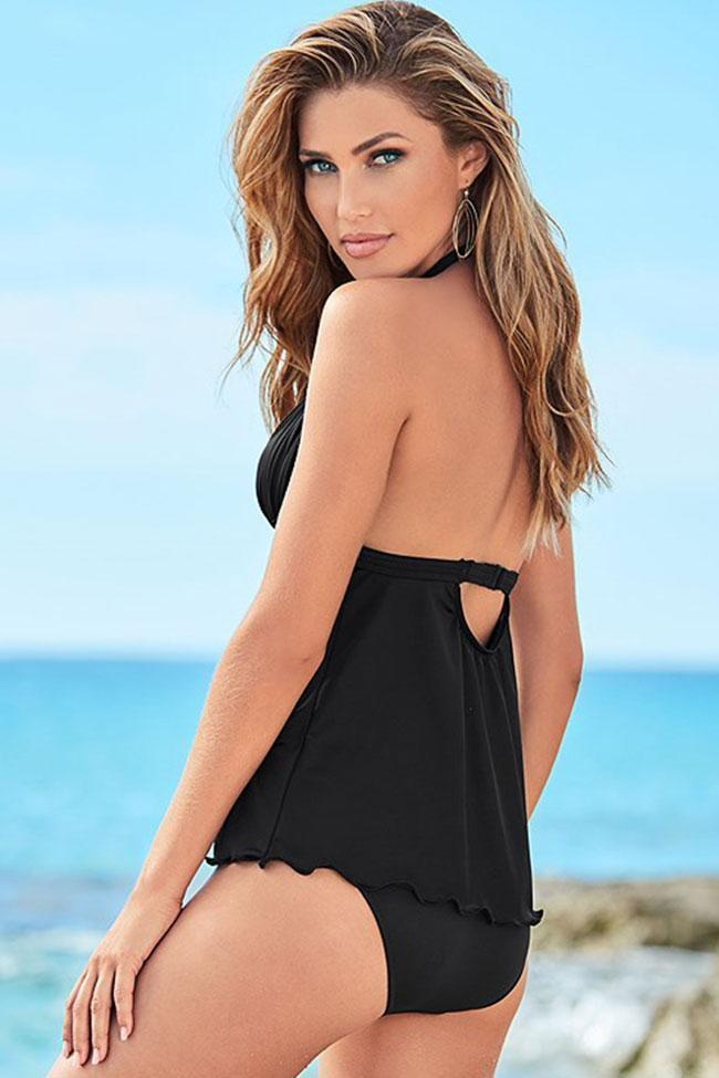 Halter V-neck Ruched Halter Triangle Tankini Swimsuit SK087