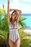 One Piece Striped V Neck Fringe Halter Swimsuit SO382