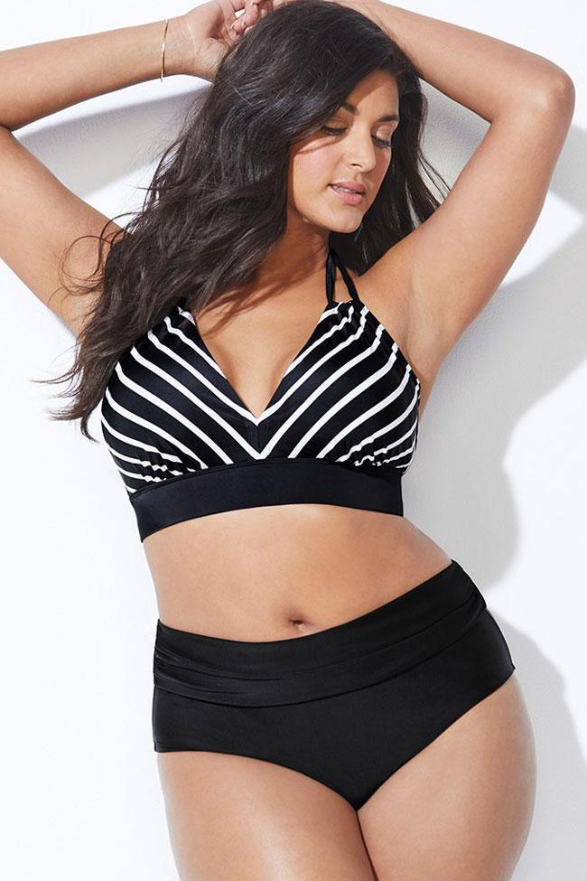 Black Striped High Waisted Halter Plus Size Bikini Swimsuit SK0204