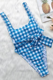 One Piece Belted High Leg Low Back Gingham Swimsuit SO150