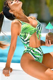 One Piece High Leg Palm Leaf Cutout Knotted Swimsuit SO091
