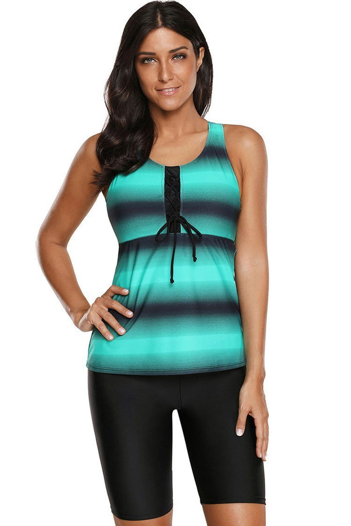 Athletic Ombre Striped Racerback Crop Pants Bottom Tankini Swimsuit SK094
