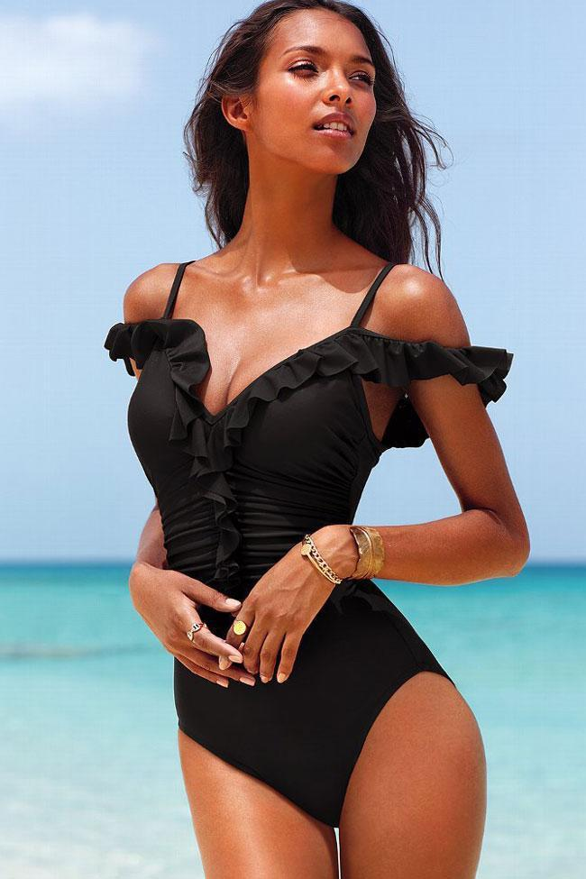 One Piece Solid Ruffle Cold Shoulder Ruched V Neck Swimsuit SO281